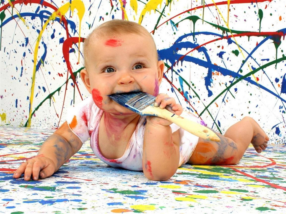 1152x864 Cute Funny Baby with Painting Color HD Wallpaper