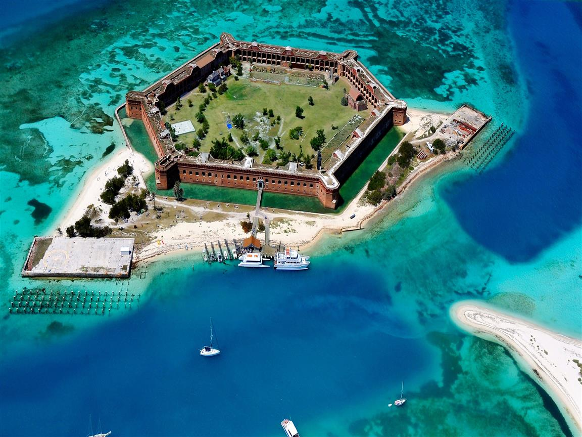 1152x864 Dry Tortugas Island Group in Florida 4K Wallpaper