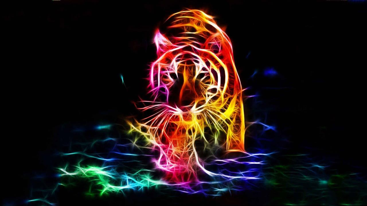 1280x720 3D Walking Tiger Color 4K Background Wallpapers
