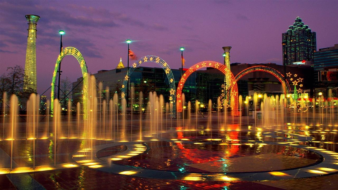 1280x720 Amazing Fountain of Centennial Olympic Park in City Georgia United States HD Wallpapers