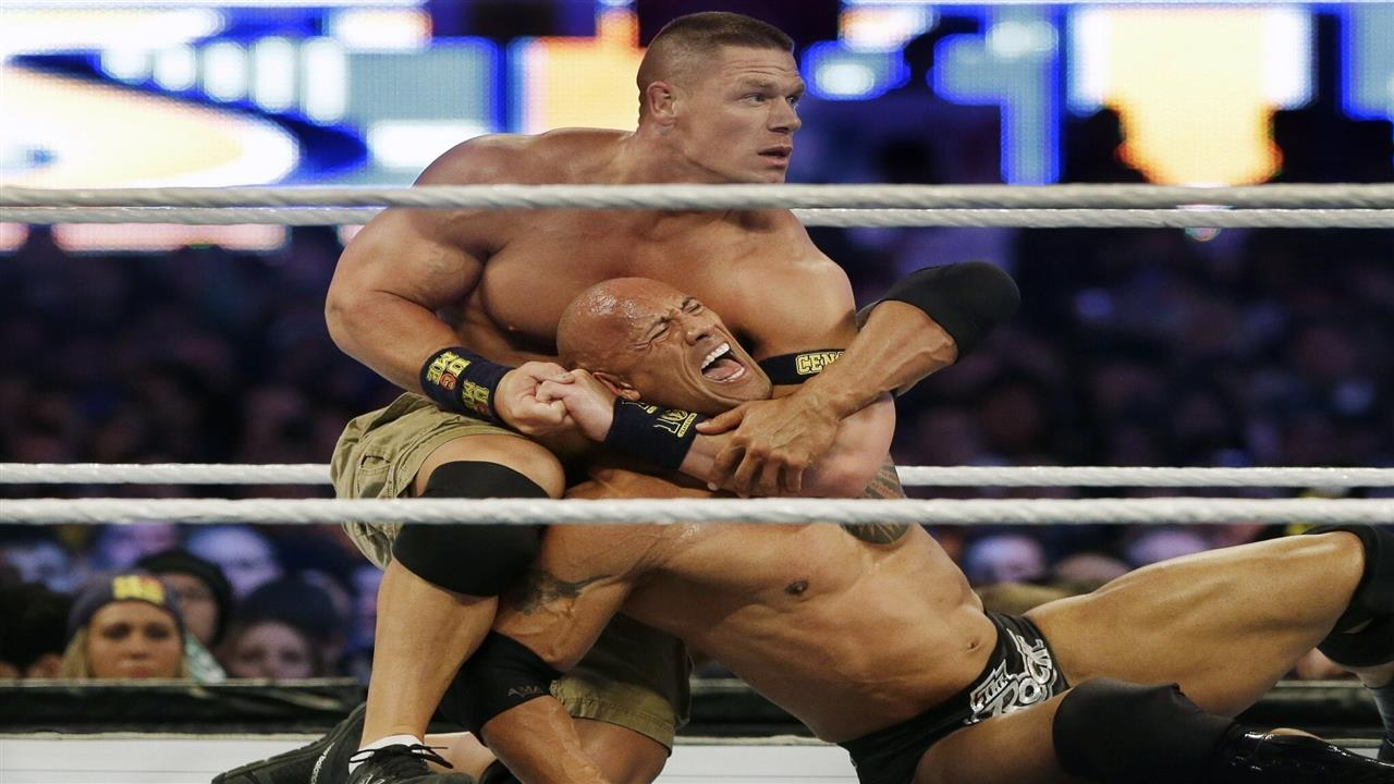 1280x720 John Cena Fight With Rock in Wrestlemania 29