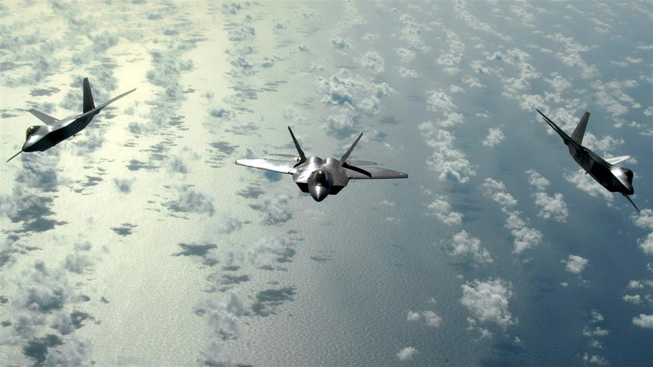 1280x720 Three Fighter Plane in Sky HD Wallpaper