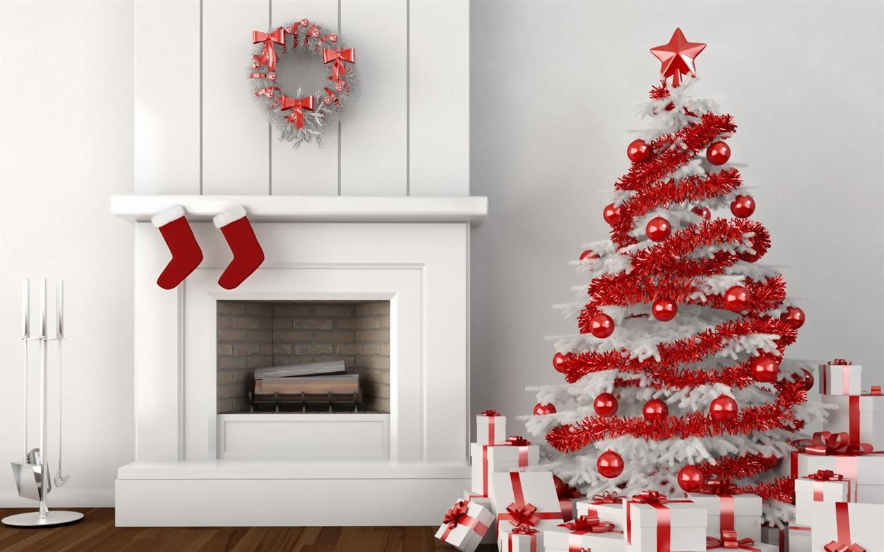 1280x800 Beautiful Nice Red and White Christmas Trees and Gifts 2013 Decoration 2013 Christmas HD Wallpapers