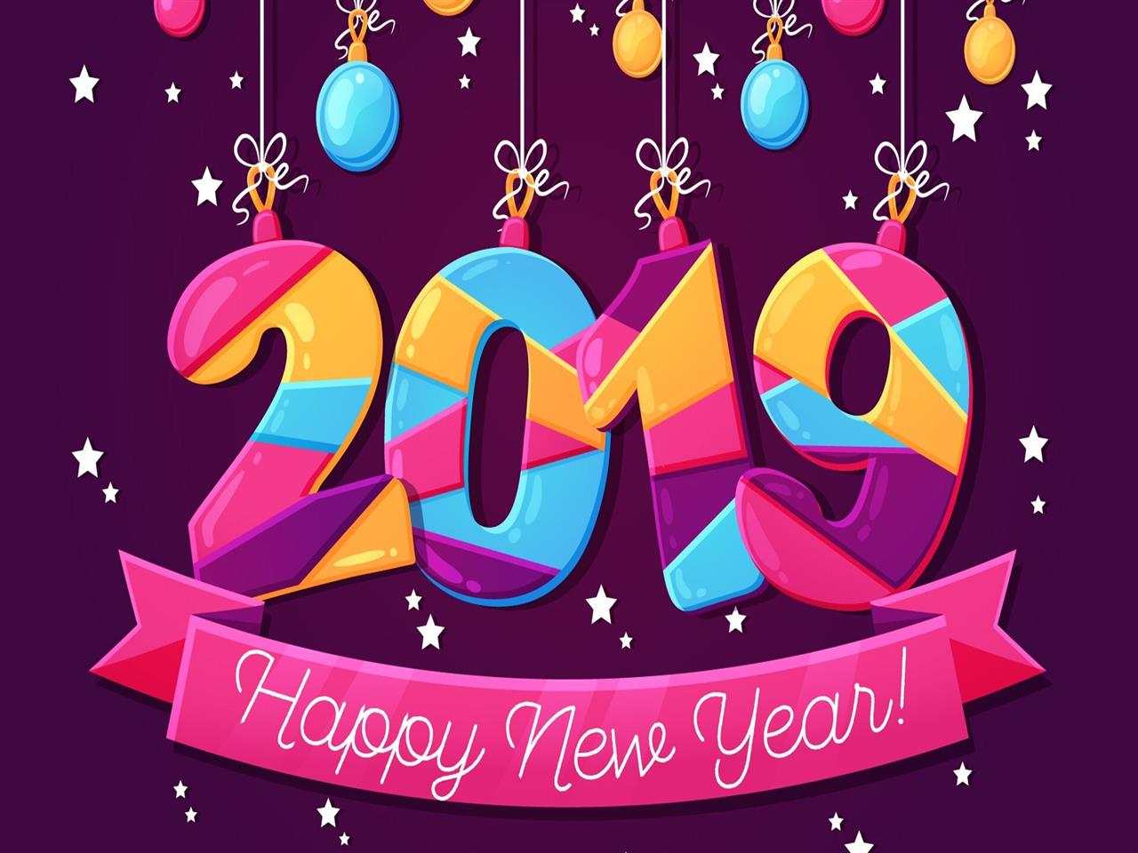 1280x960 2019 Happy New Year HD Pink Image