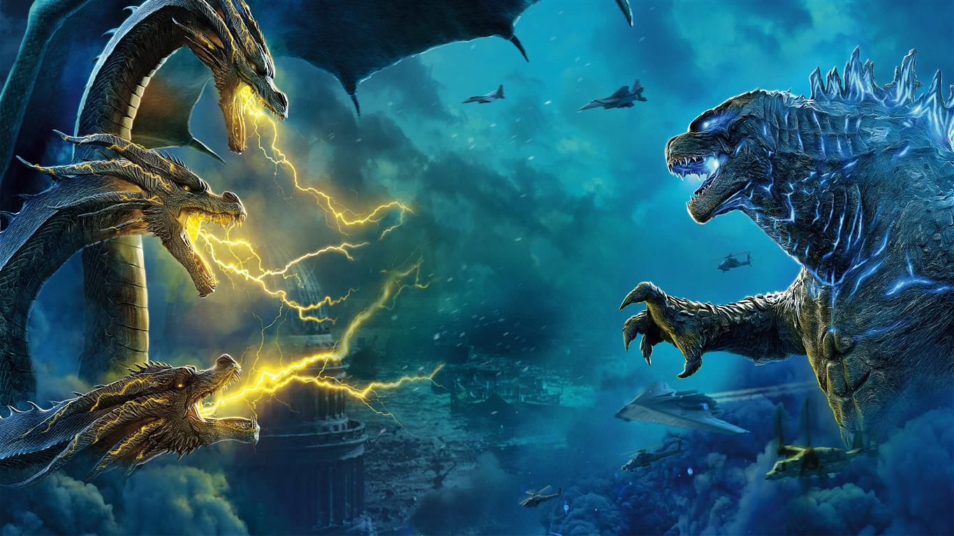 1366x768 2019 Movie Wallpaper of Godzilla King of the Monsters
