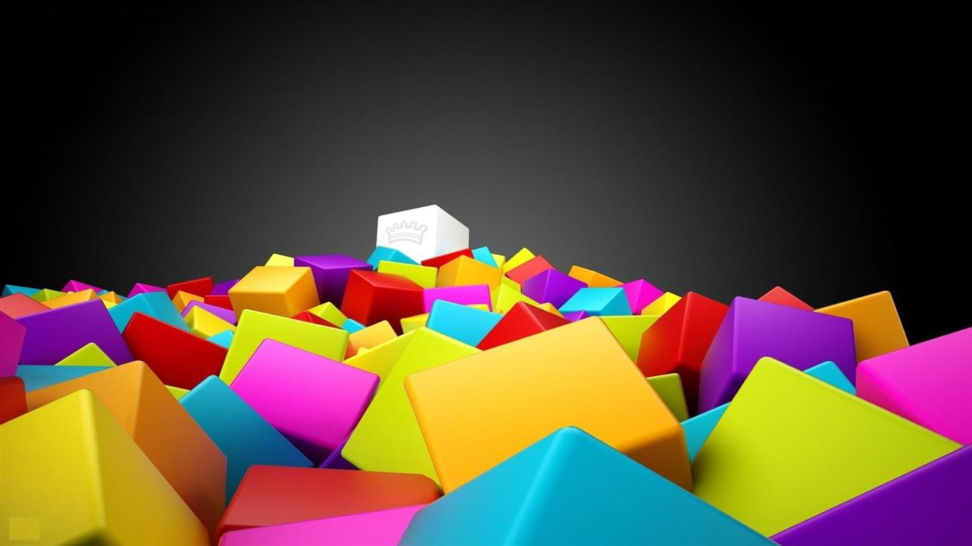 1366x768 3D Colorful Squares
