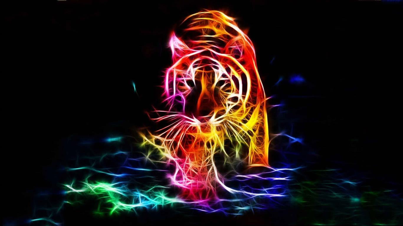 1366x768 3D Walking Tiger Color 4K Background Wallpapers