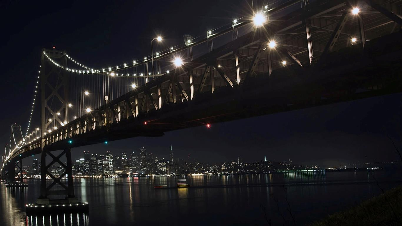 1366x768 Amazing Night Look Bridge Wallpaper