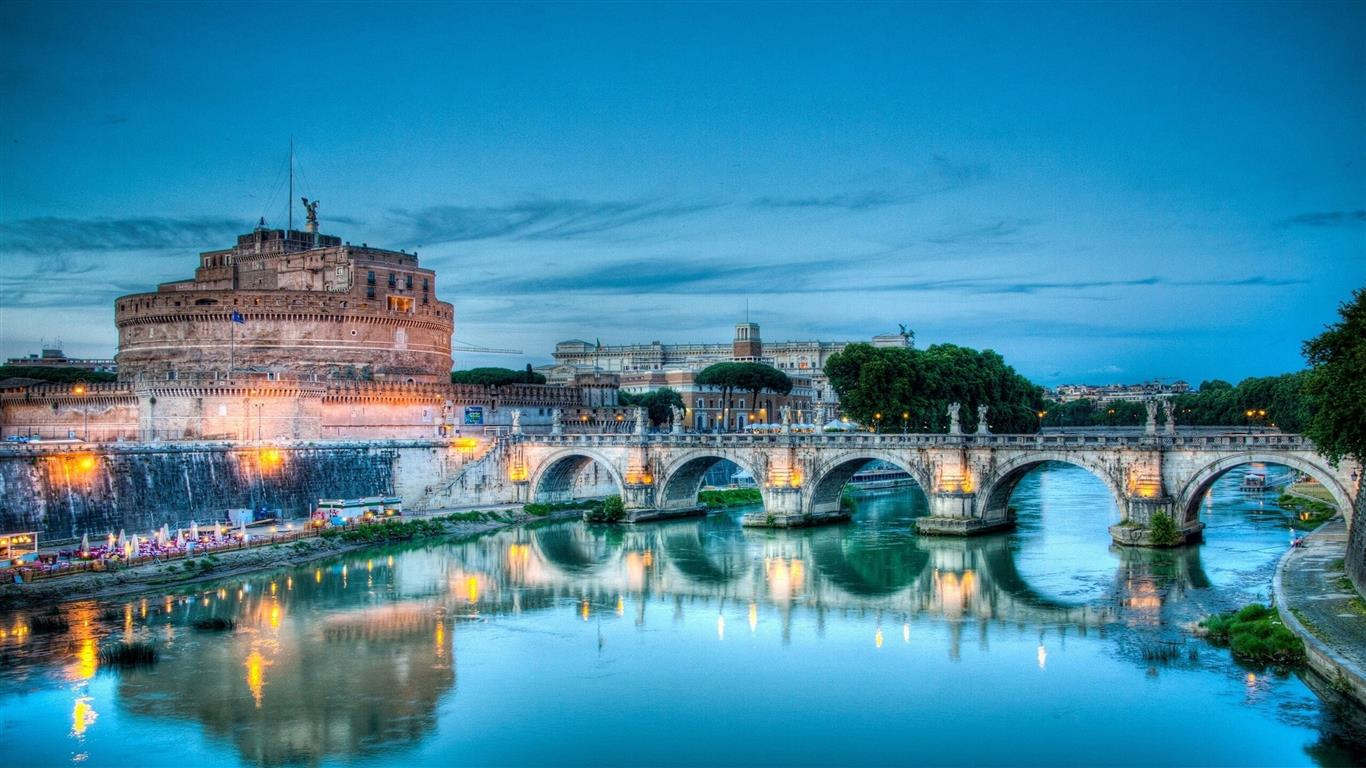 1366x768 Bridge in Rome City of Italy Country Wallpaper