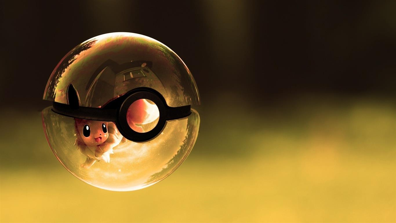 1366x768 Cartoon Pokemon Ball HD Desktop Wallpaper