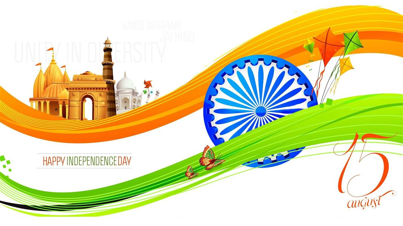 1366x768 Happy Independence Day 15 August 4K Wallpaper