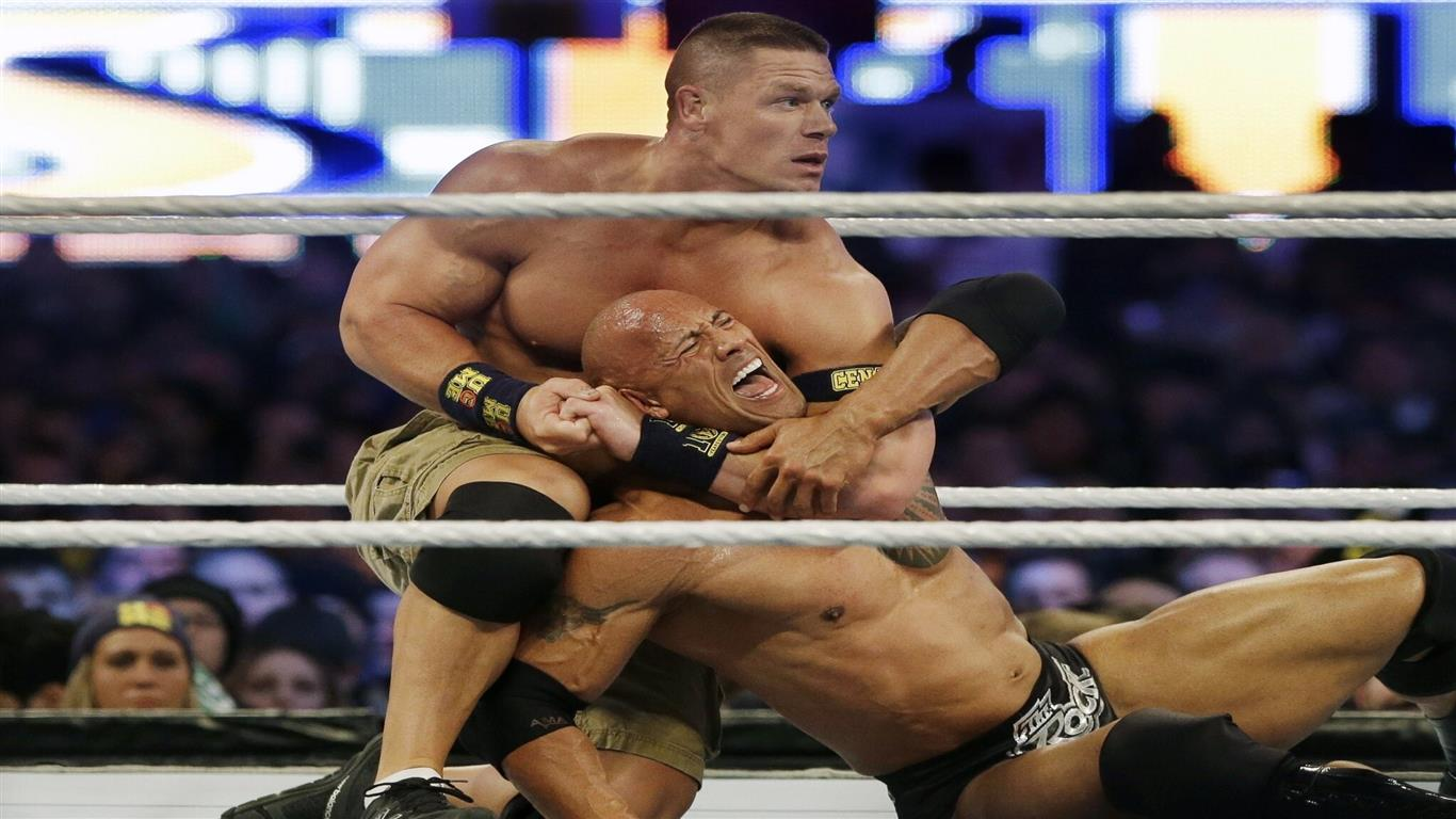 1366x768 John Cena Fight With Rock in Wrestlemania 29