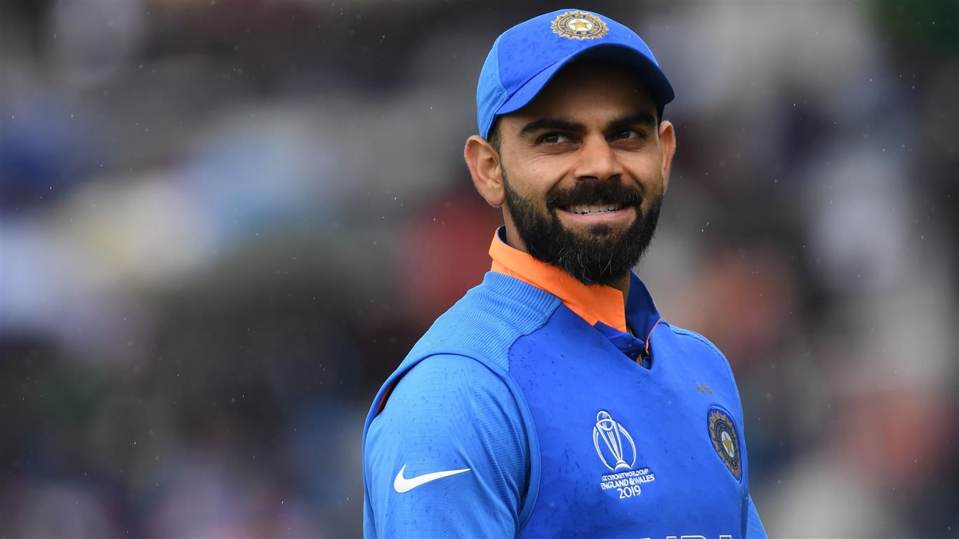 1366x768 Virat Kohli in Cricket World Cup 2019 4K Wallpaper