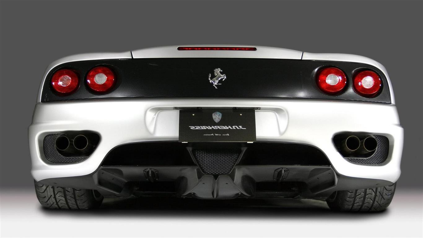 1366x768 White Ferrari Cars Wallpapers