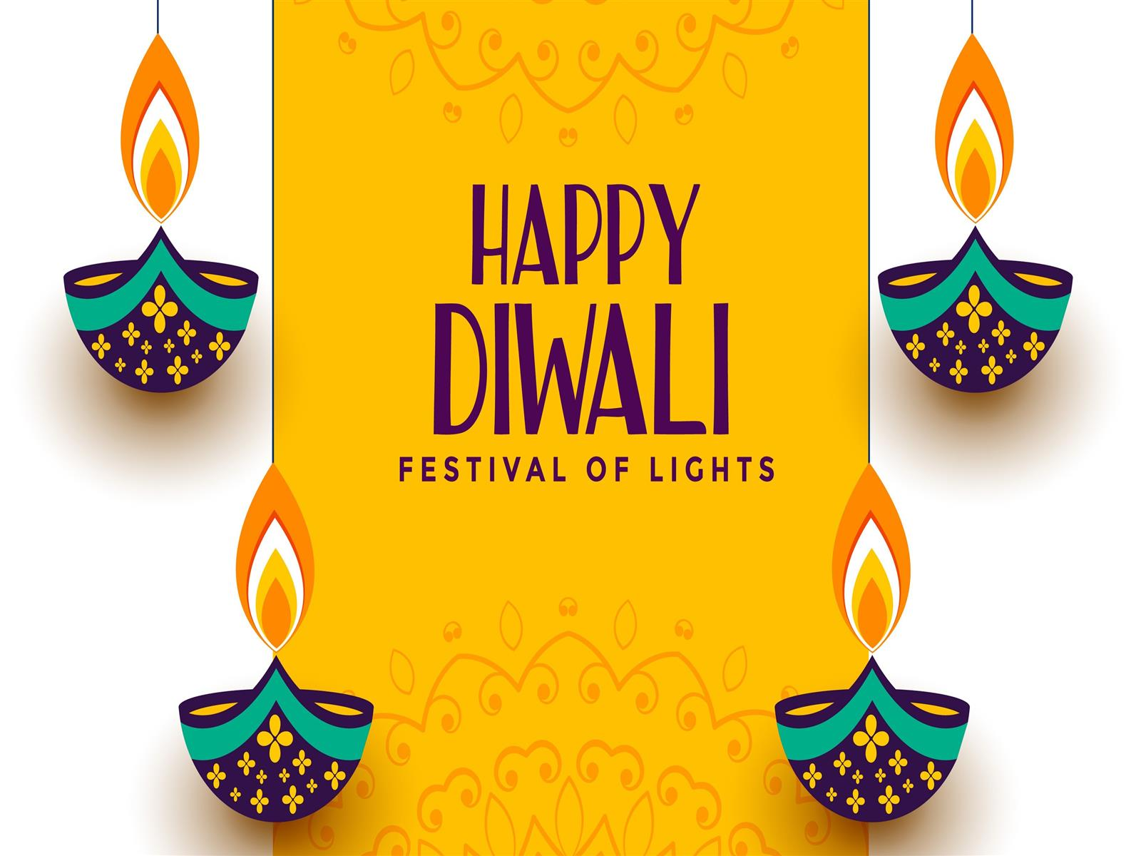 1600x1200 Festival of Lights Diwali 2019 Yellow Background 4K Wallpaper