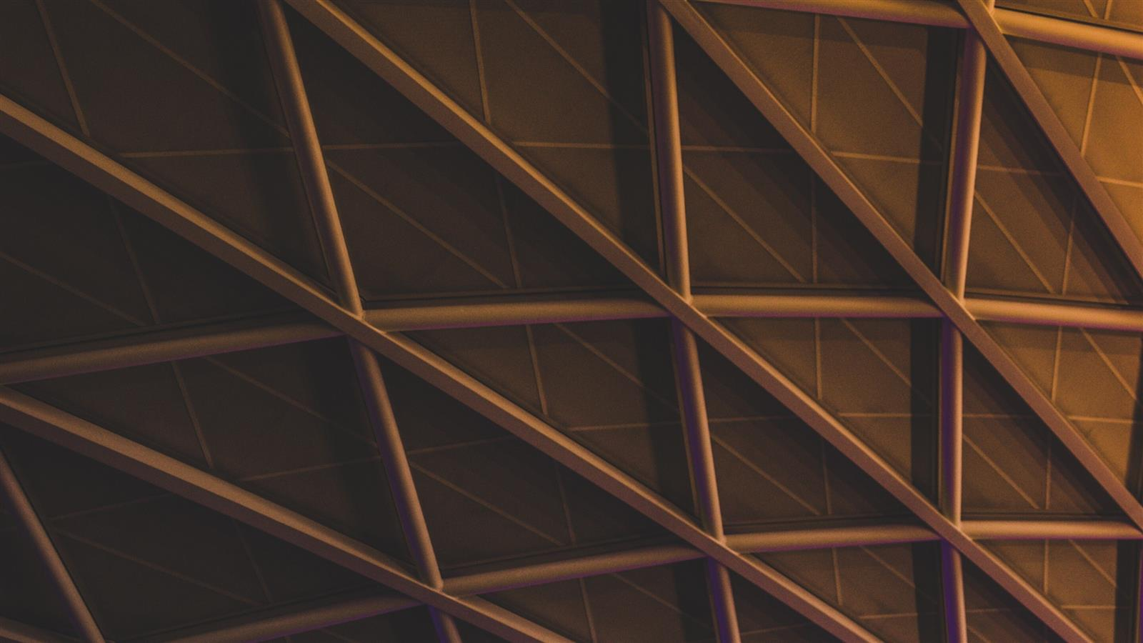 1600x900 Building Ceiling Structure Hexagon Pattern Abstract Wallpaper