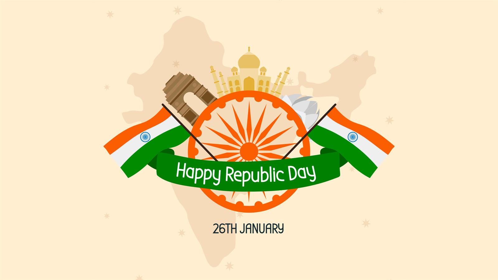 1600x900 Happy Republic Day of India Wallpaper