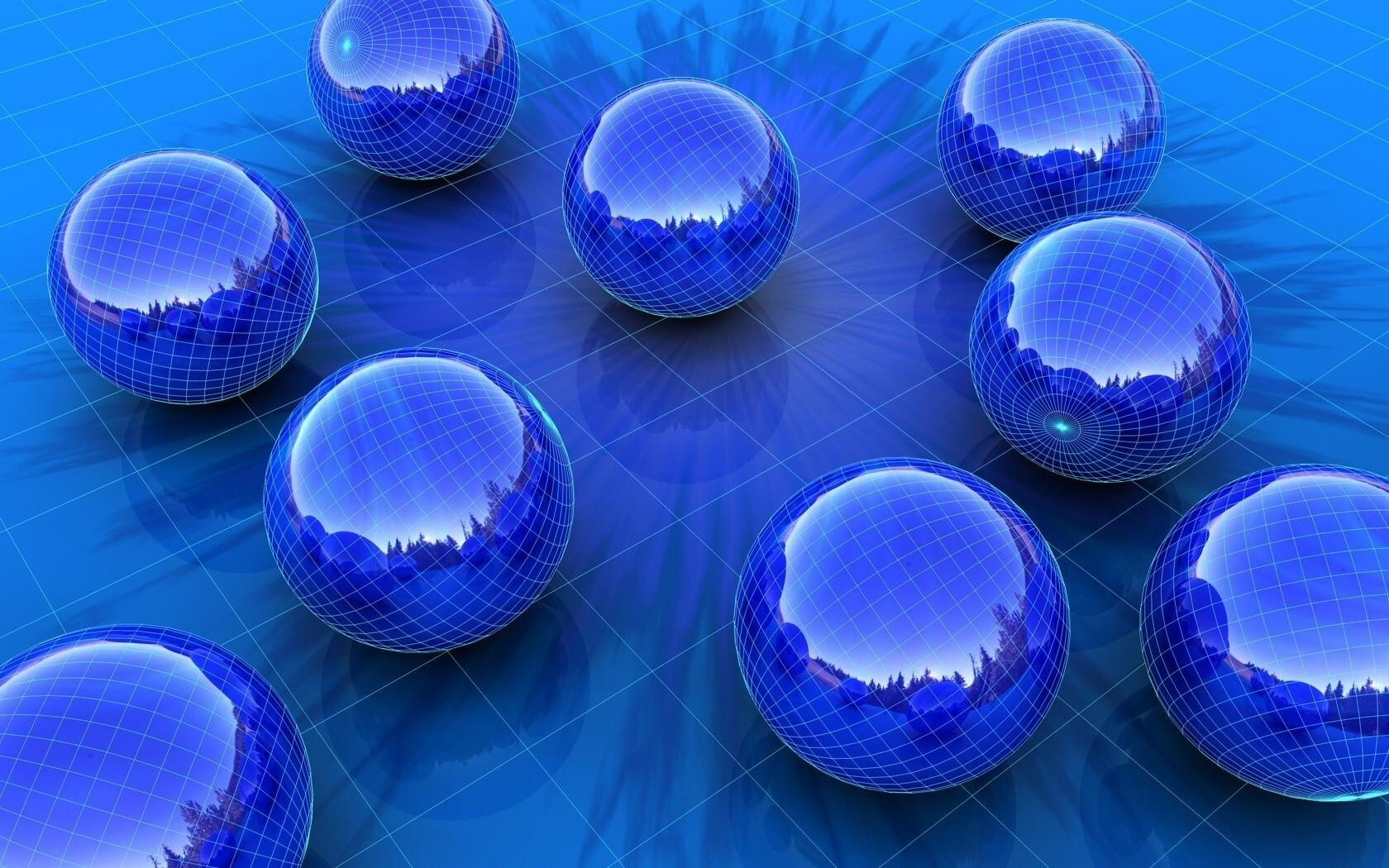 1680x1050 3D Blue Balls HD Wallpaper