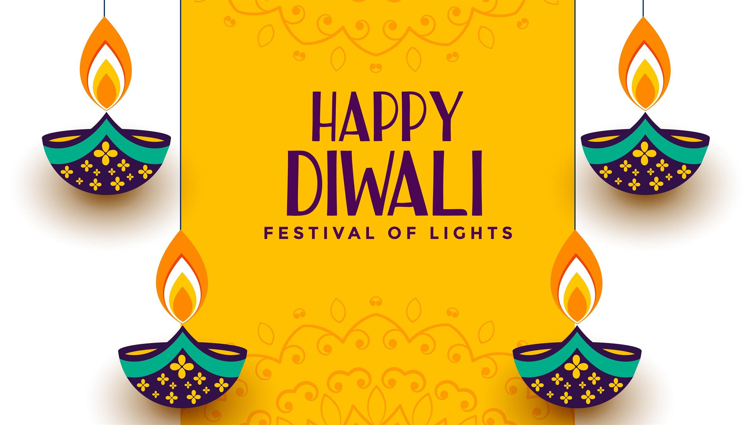 2400x1350 Festival of Lights Diwali 2019 Yellow Background 4K Wallpaper