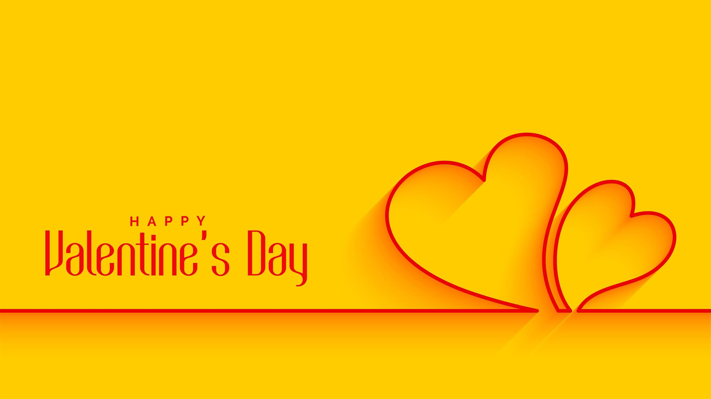 2400x1350 Valentines Day 5K Yellow Wallpaper