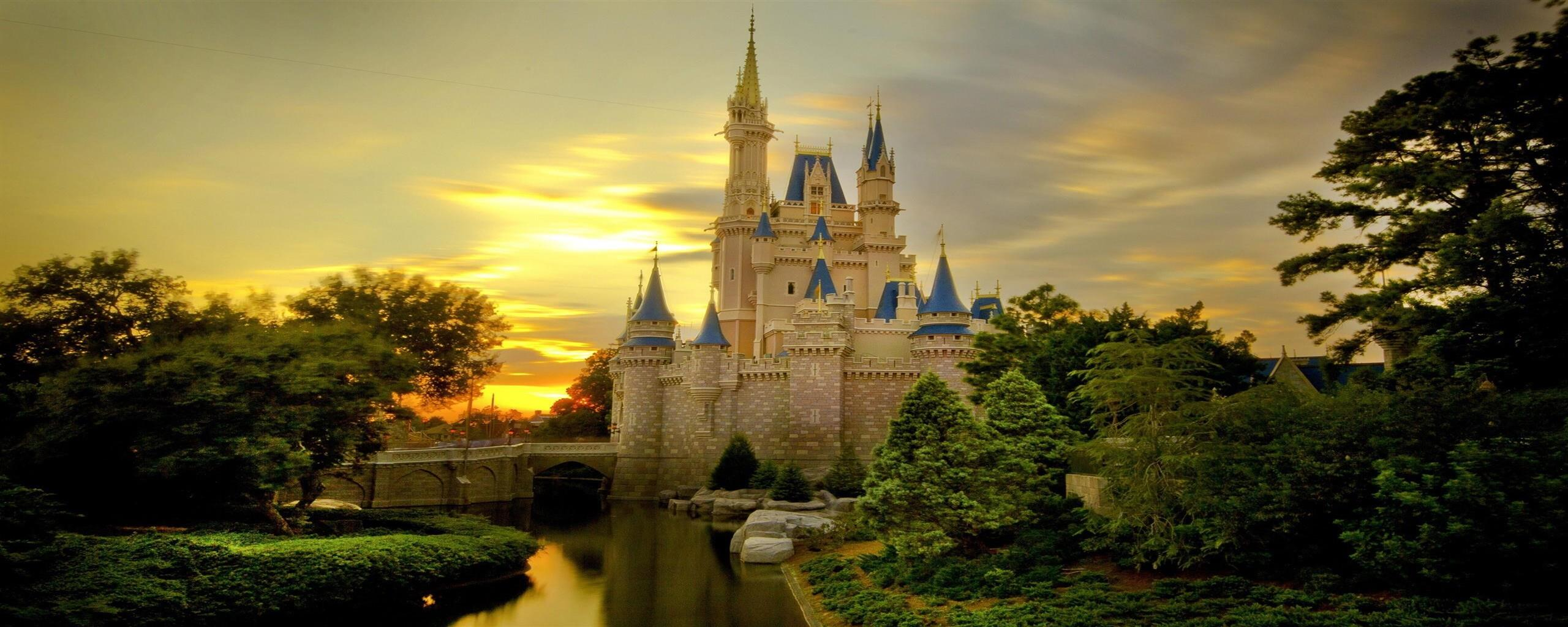 2560x1024 Amazing Beautiful Cinderella Castle Image Free Download