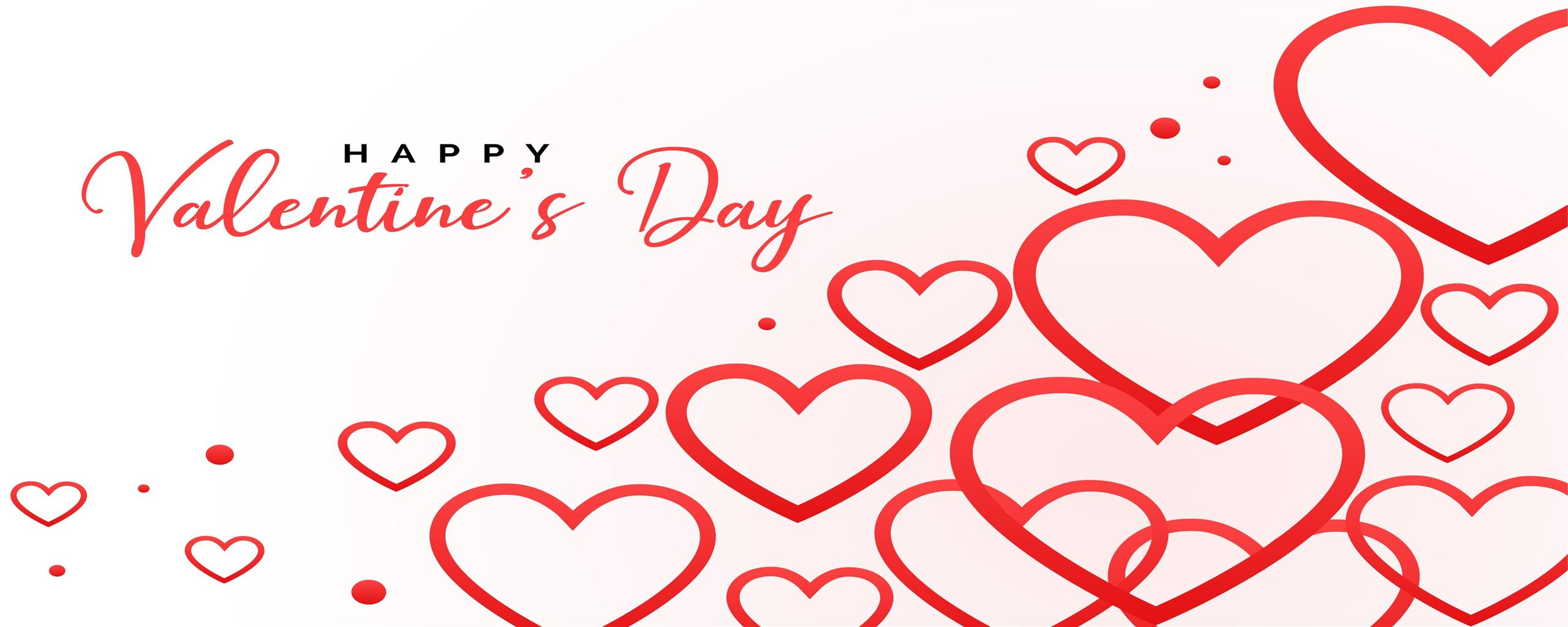 2560x1024 Valentine Day Photo with Red Heart Wallpaper