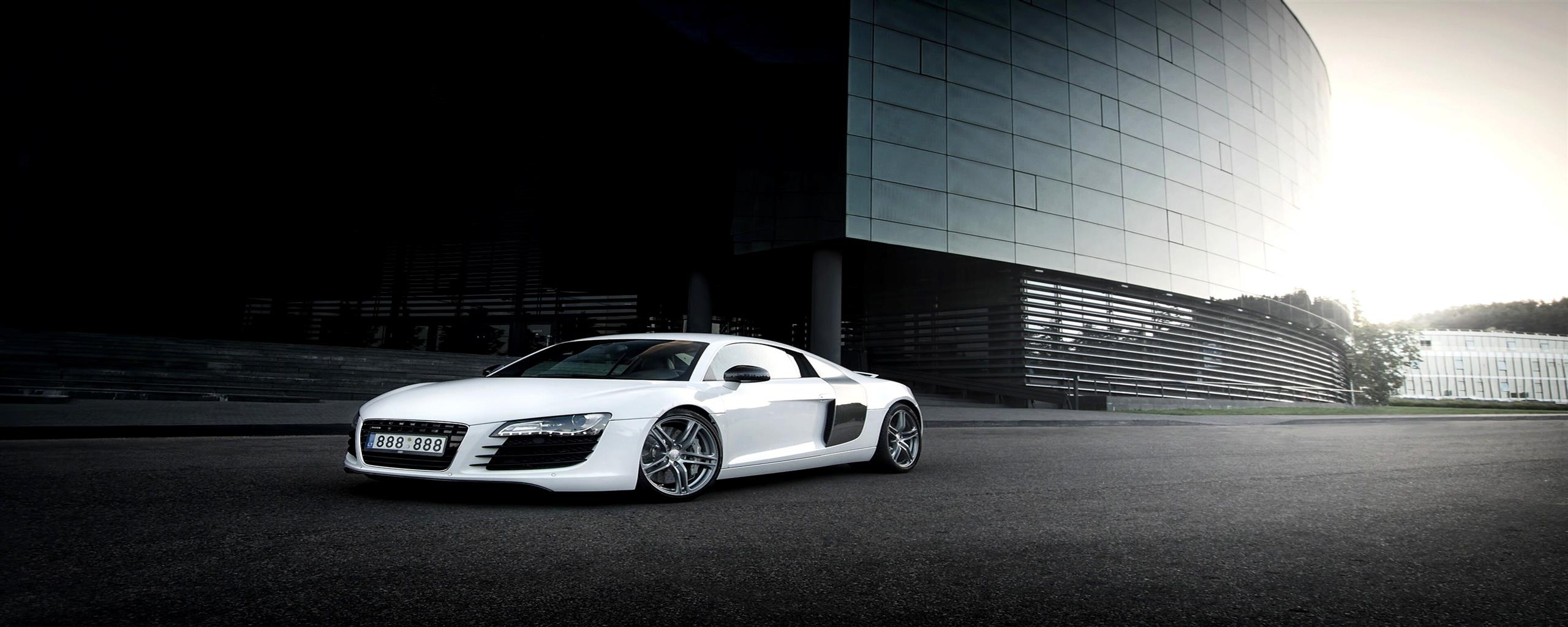 2560x1024 White Audi R8 Background Wallpaper