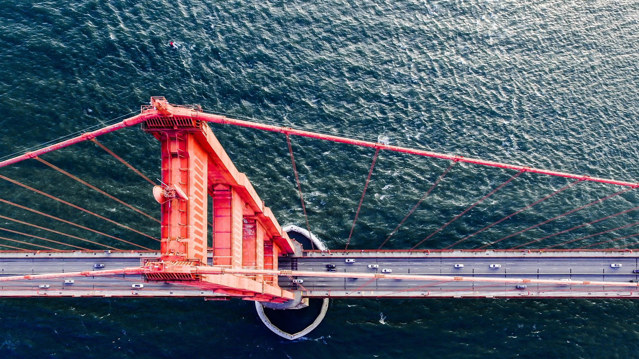 2560x1440 Awesome Top View of Golden Gate Bridge California US Wallpaper