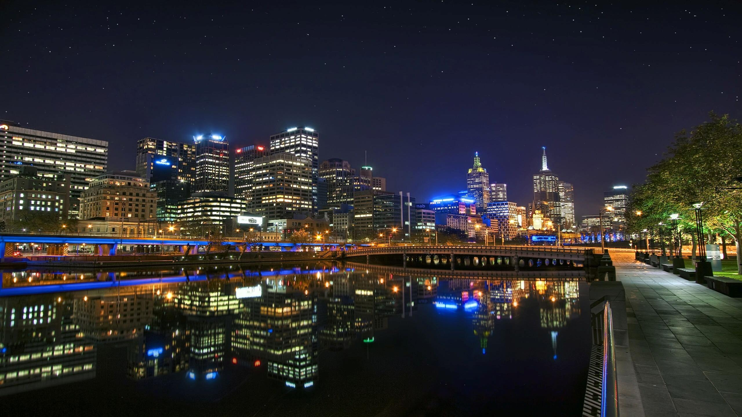 2560x1440 Night Look of City Melbourne in Australia HD Wallpapers