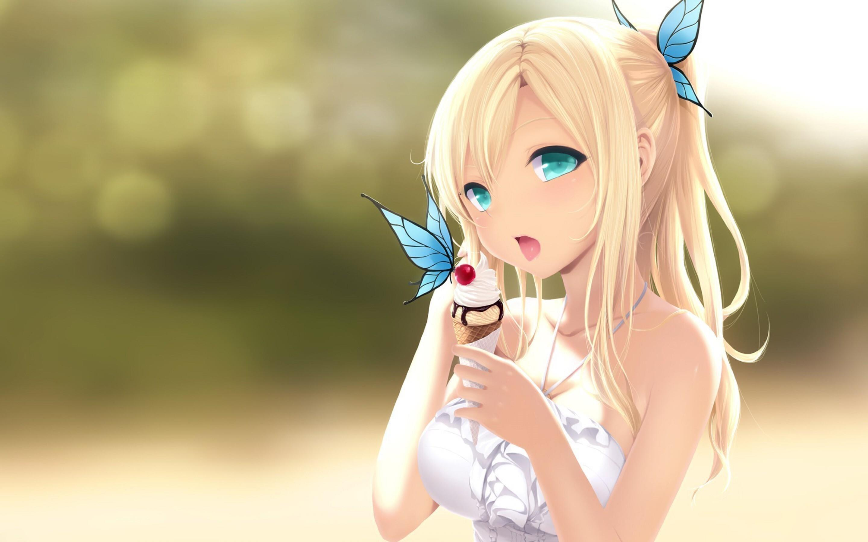 2880x1800 Anime Papillons Cartoon Girl HD Wallpaper