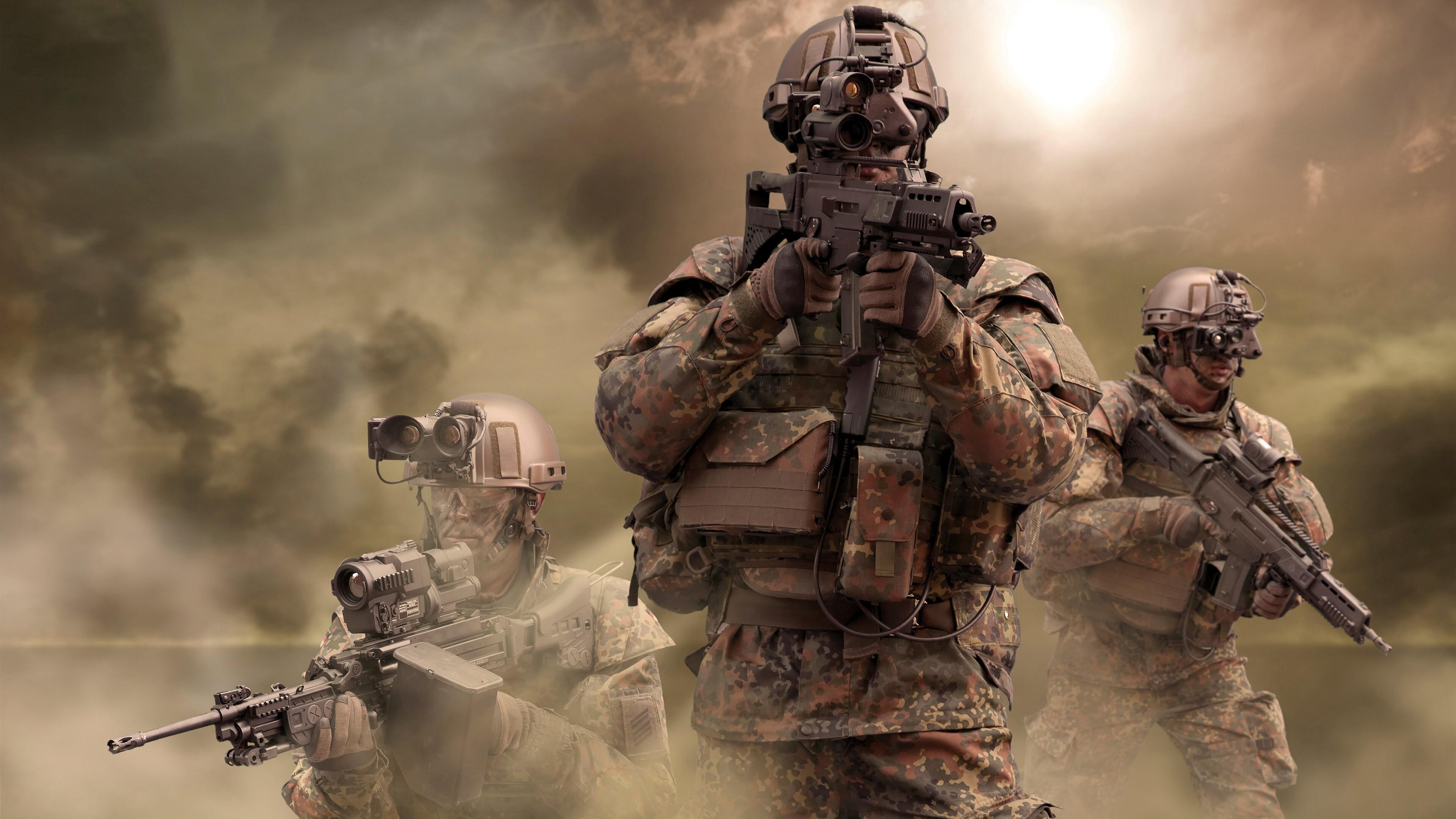 3840x2160 Army Soldier Background Wallpaper