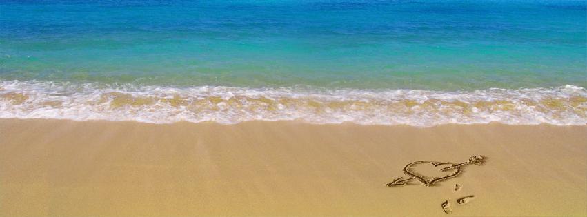 Heart on Beach Facebook Cover Photo