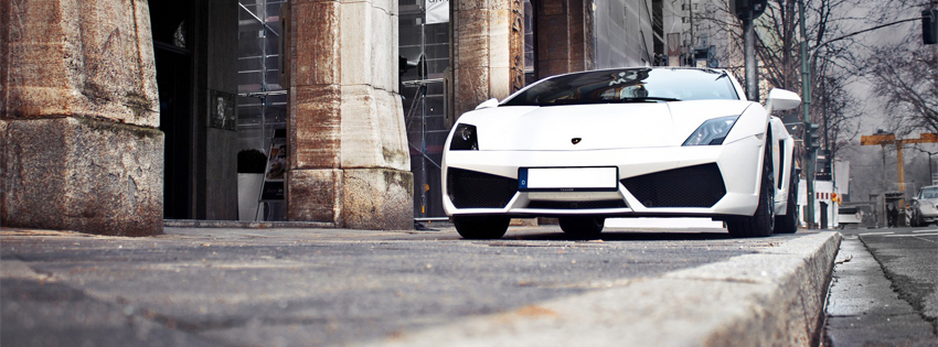 Lamborghini White Car Facebook Cover Photo