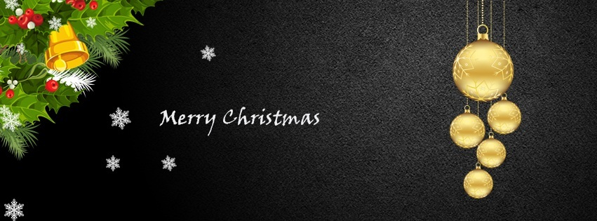Merry Christmas Facebook Cover Photo in Black Background