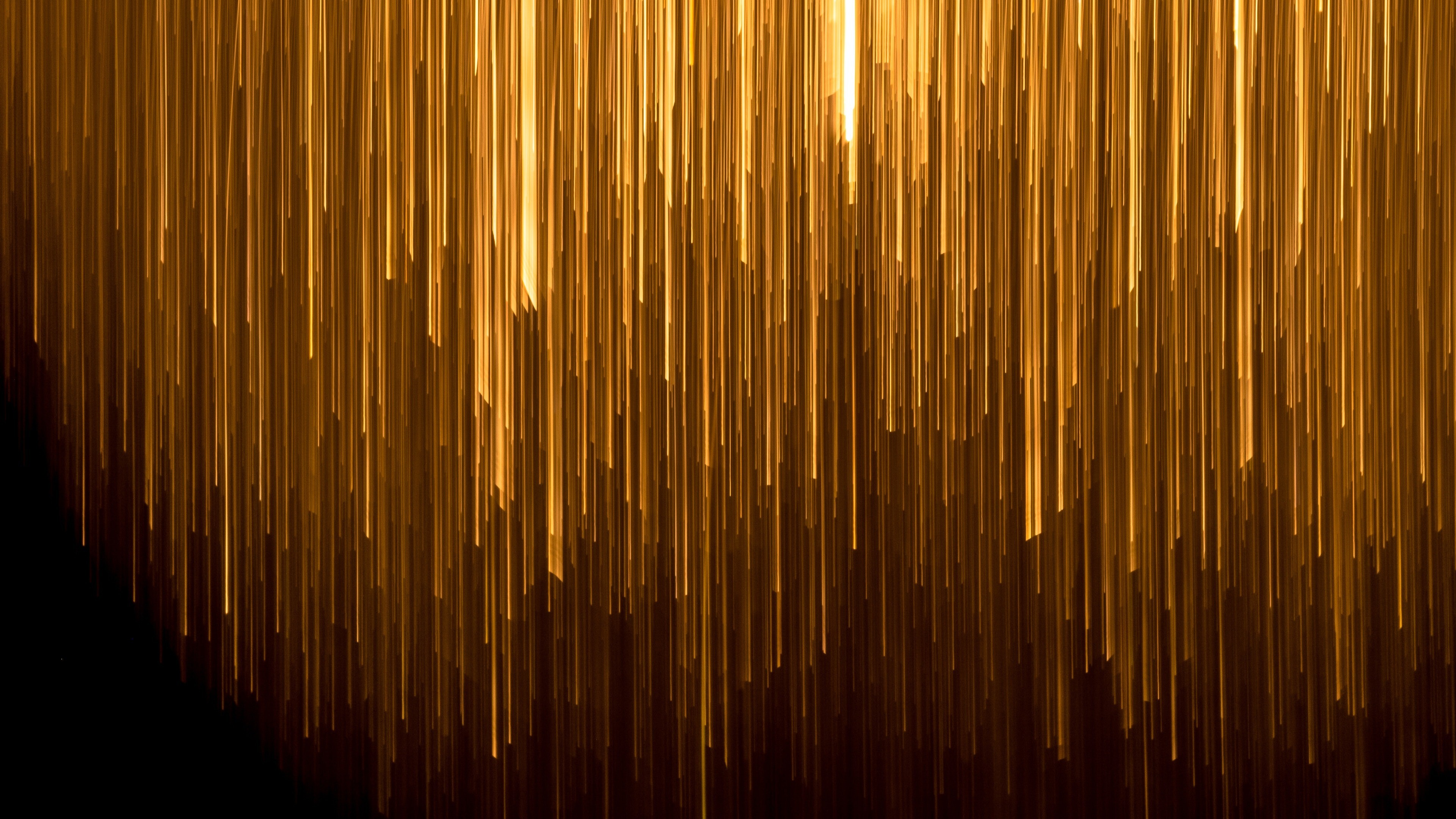 Golden Lines In Black Background Abstract 4k Wallpaper Hd