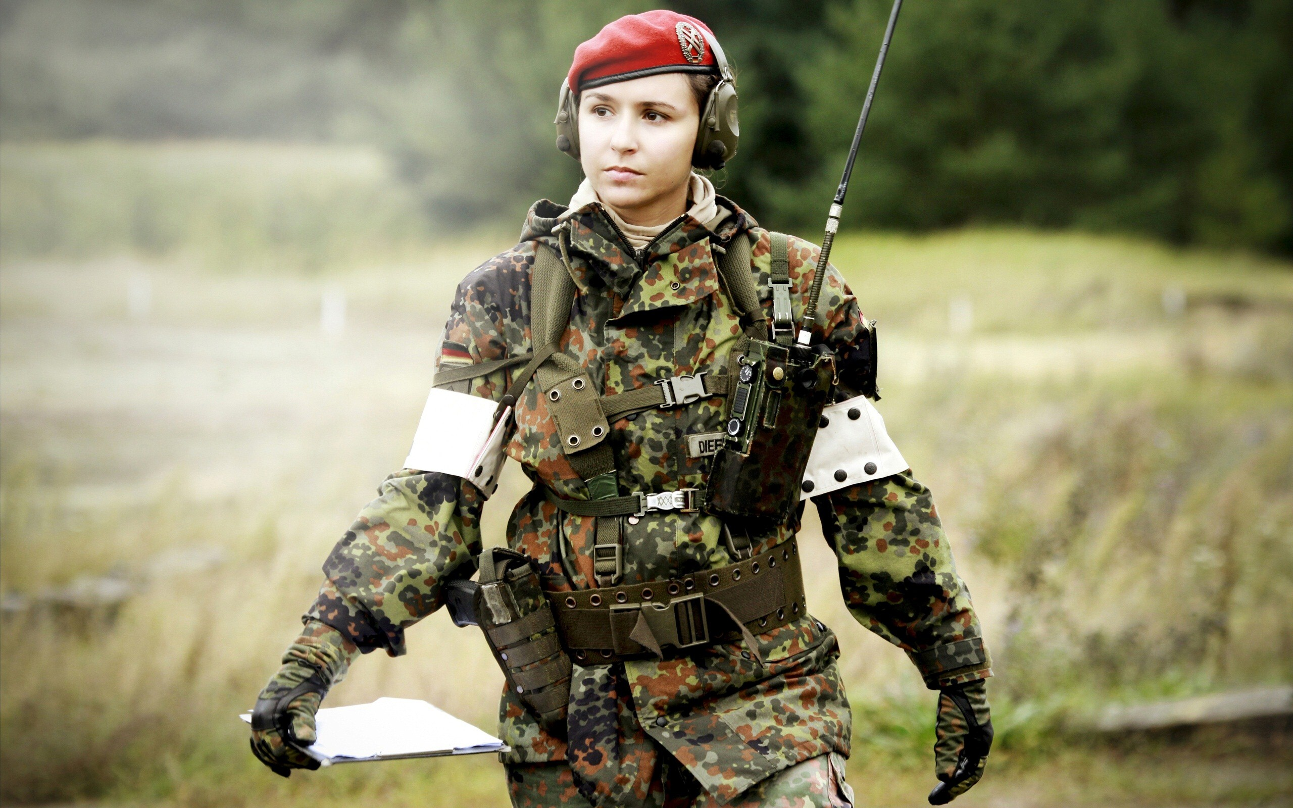 army girl with equipment high definition wallpaper | hd wallpapers