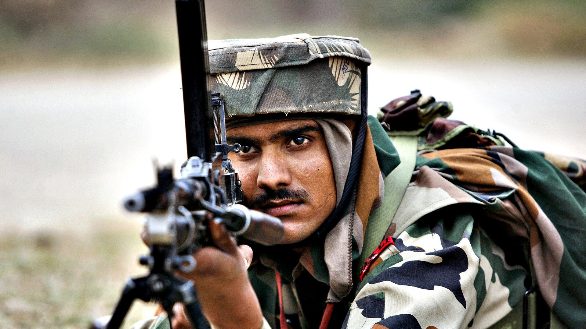 Indian Soldier Shooting With Gun