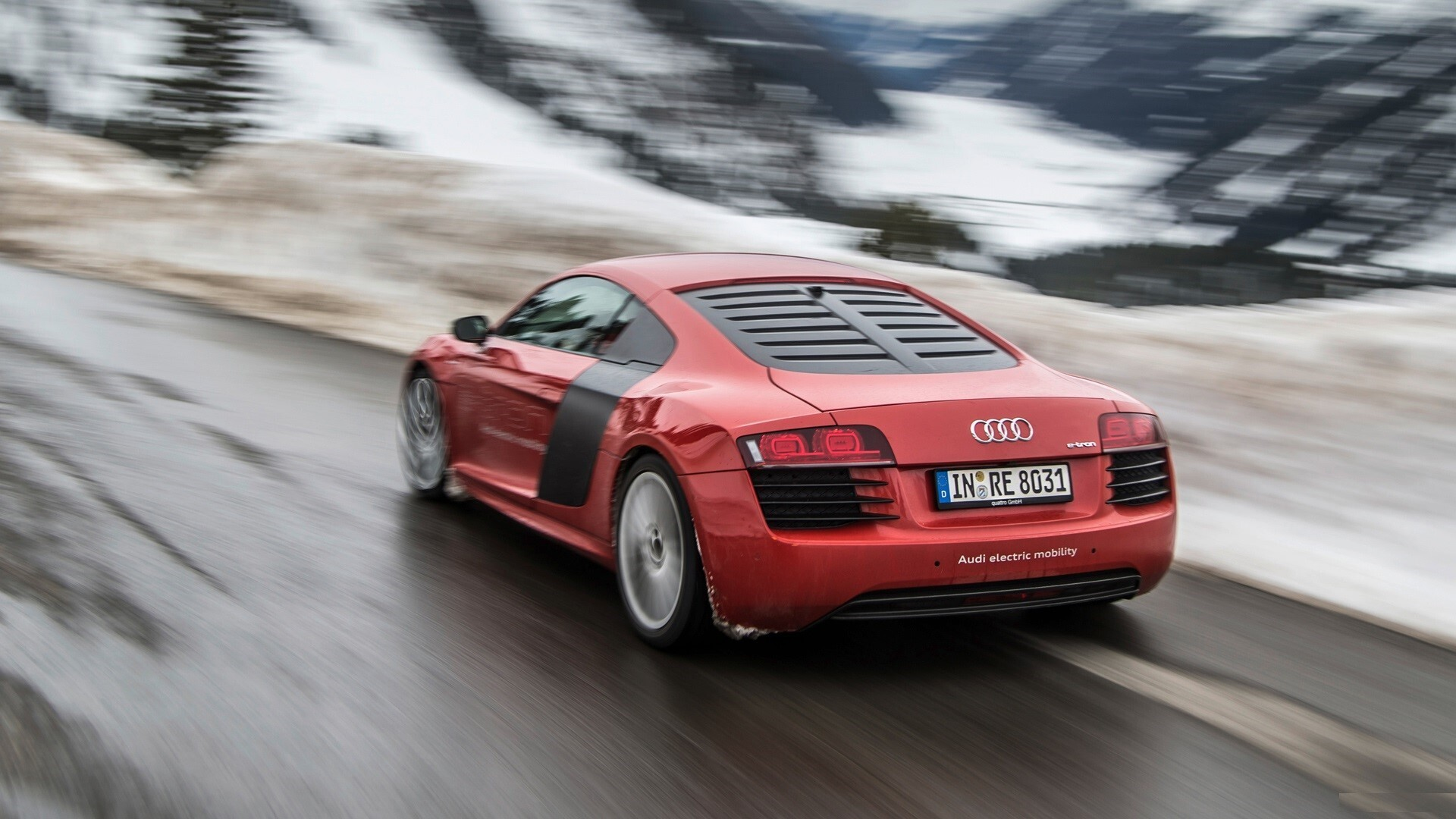 2013 Red Audi R8 E Tron Back Side On Road Car Wallpapers Hd Wallpapers