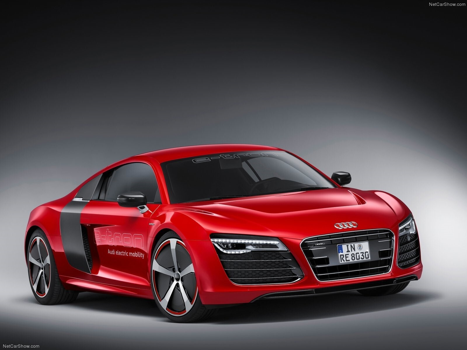 New Latest Red Audi R8 E Tron 2013 Concept Car Wallpaper HD