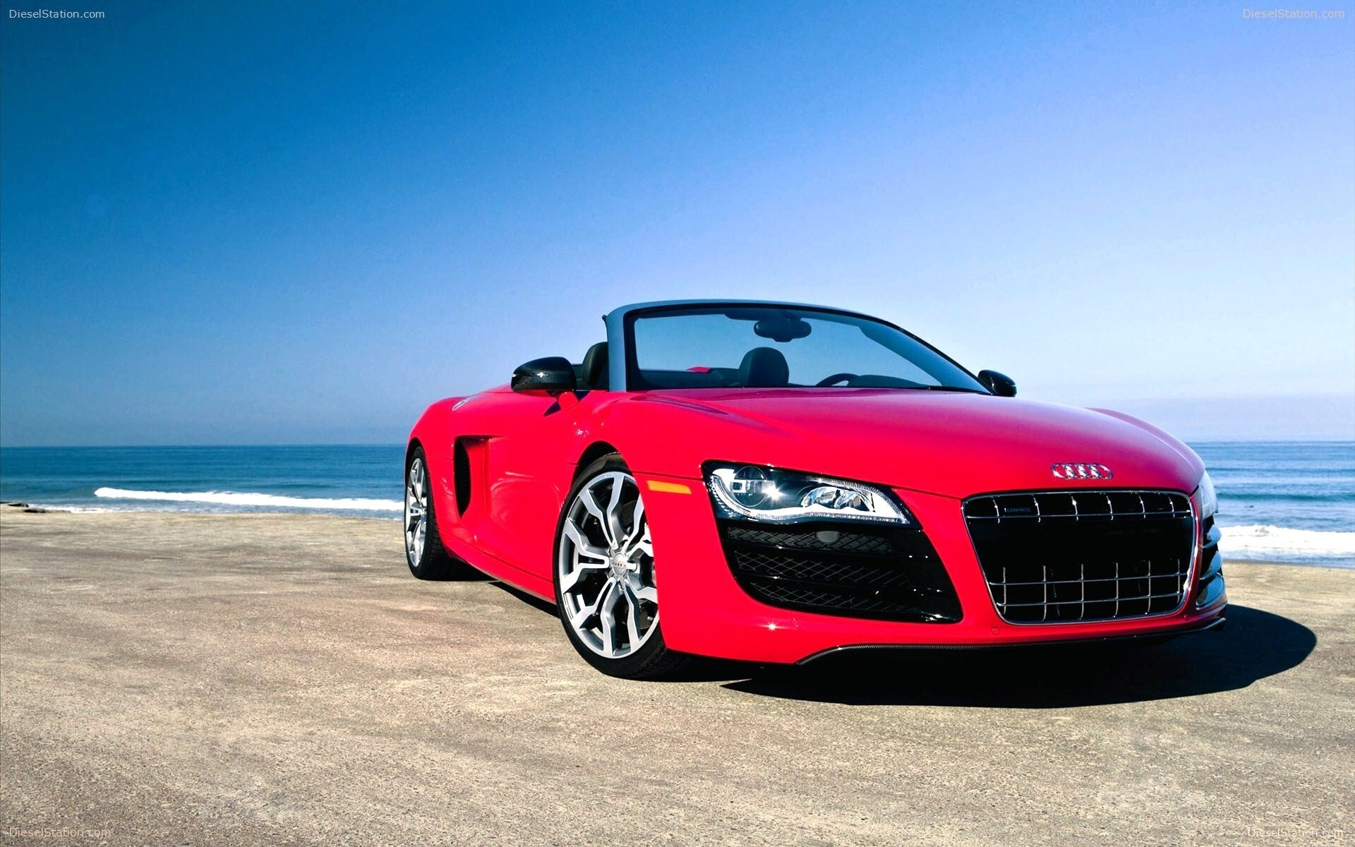 Red Audi R GT In Beach Car Wallpapers HD Wallpapers - Audi car background