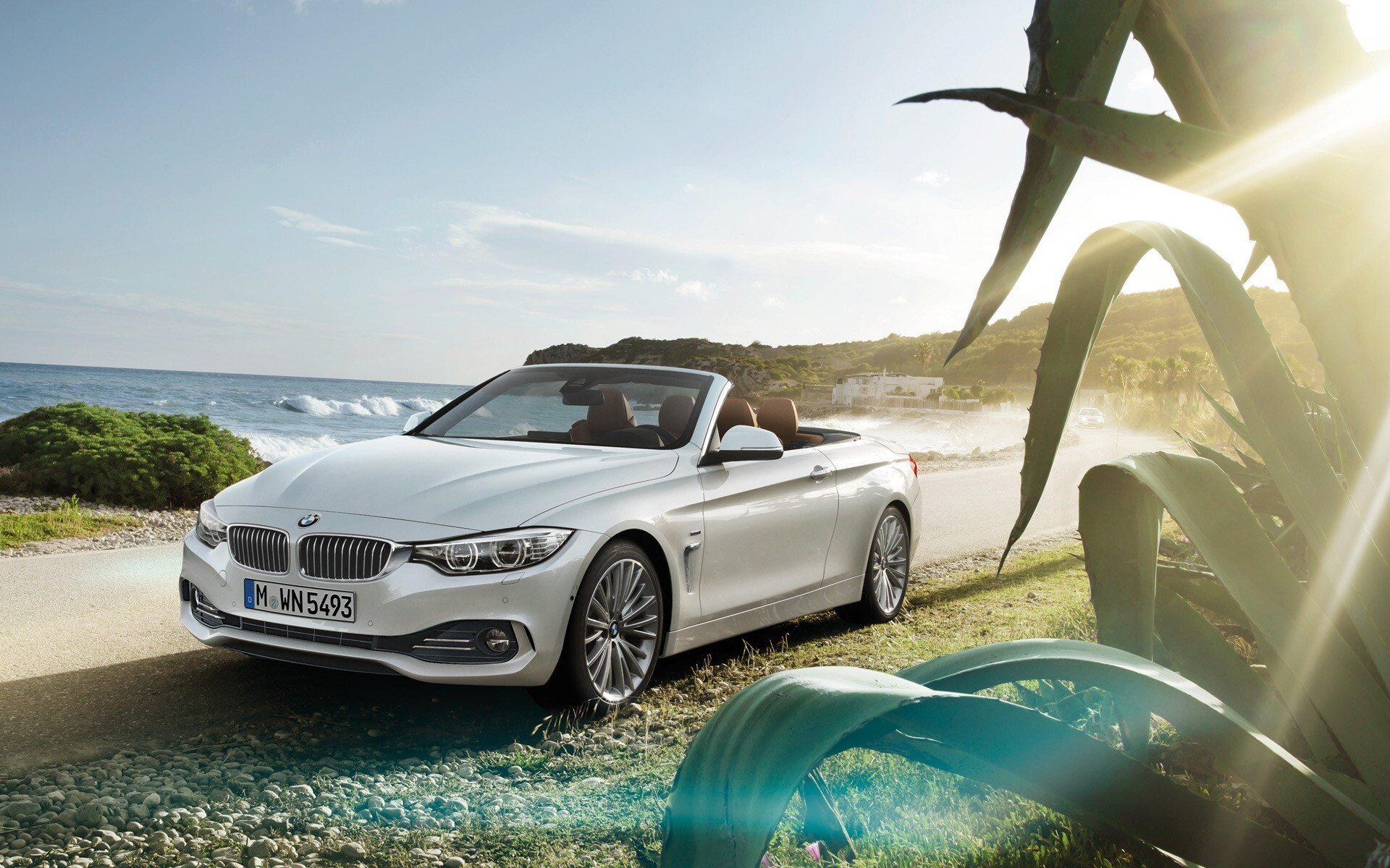 super beautiful bmw white 4 series convertible car on road wallpaper