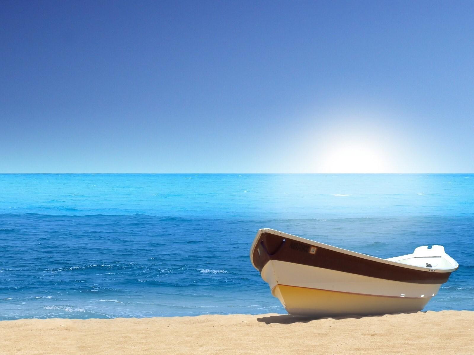 Boat At Blue Sea Beach Hd Wallpapers