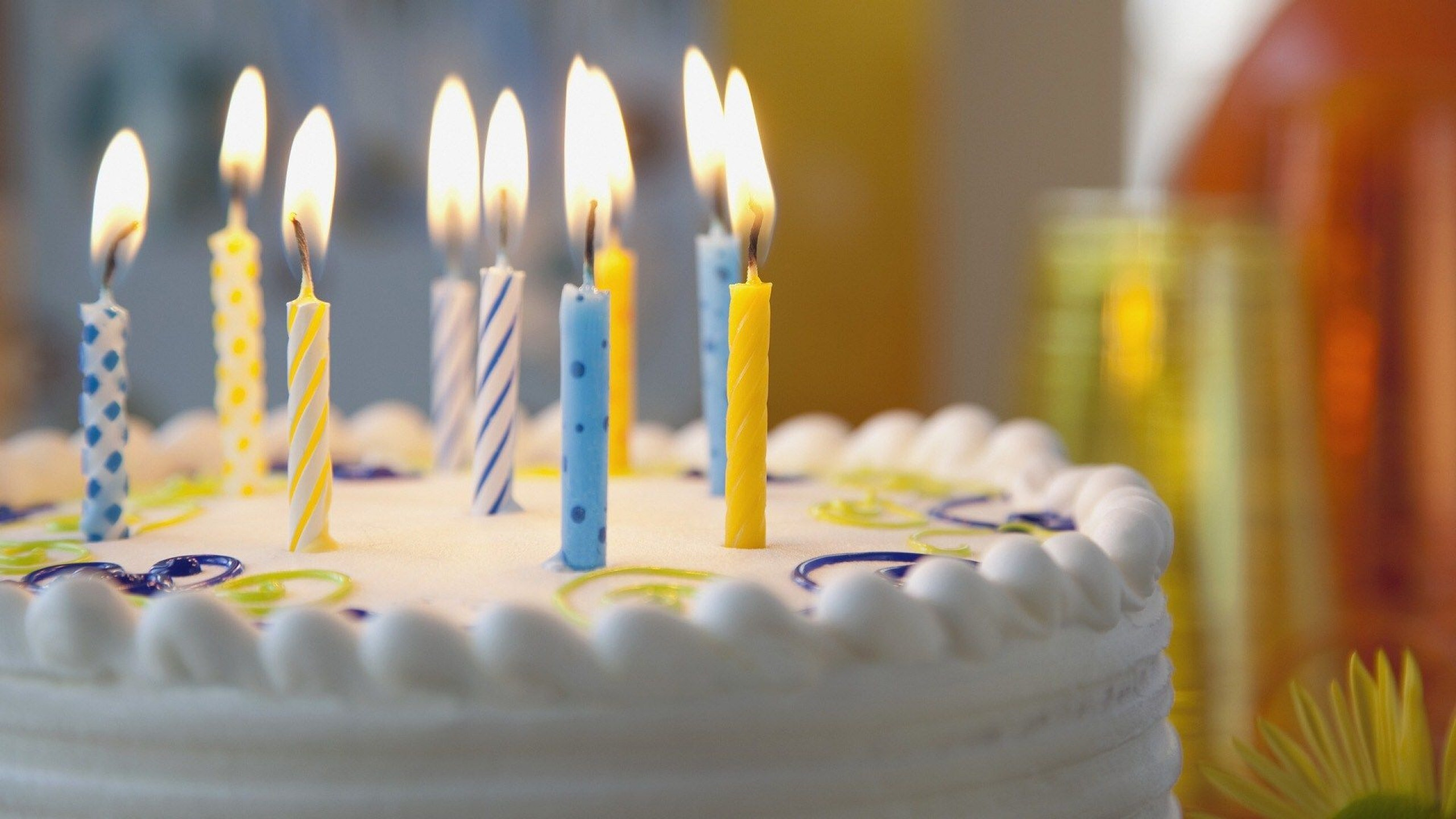 Beautiful Candles In White Cake On Birthday