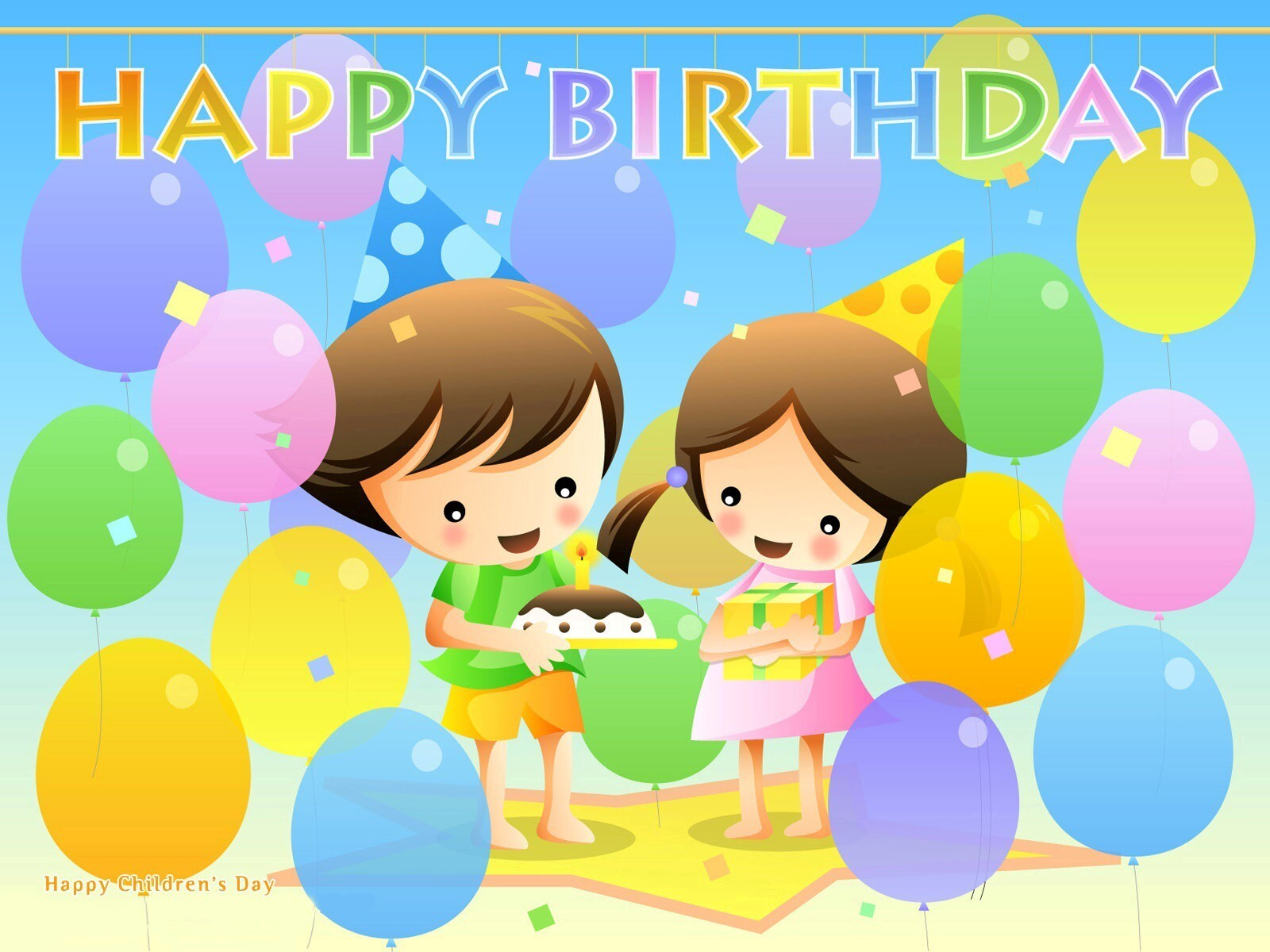cartoon child celebrate birthday party hd wallpapers