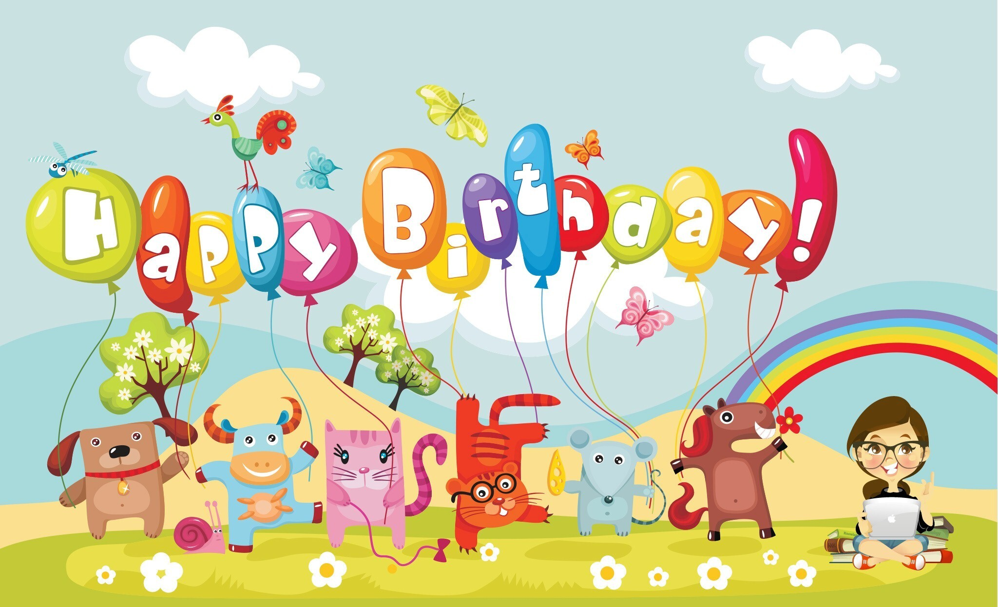 HD Happy Birthday Cartoon Wallpaper