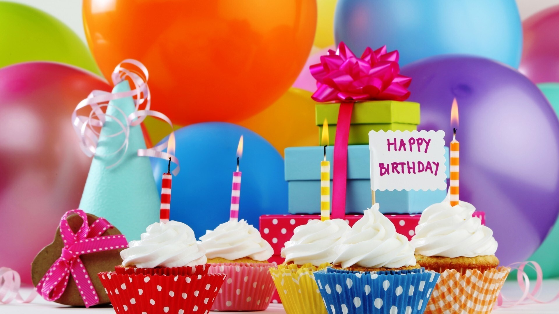 Happy Birthday Cupcake With Colorful Balloon