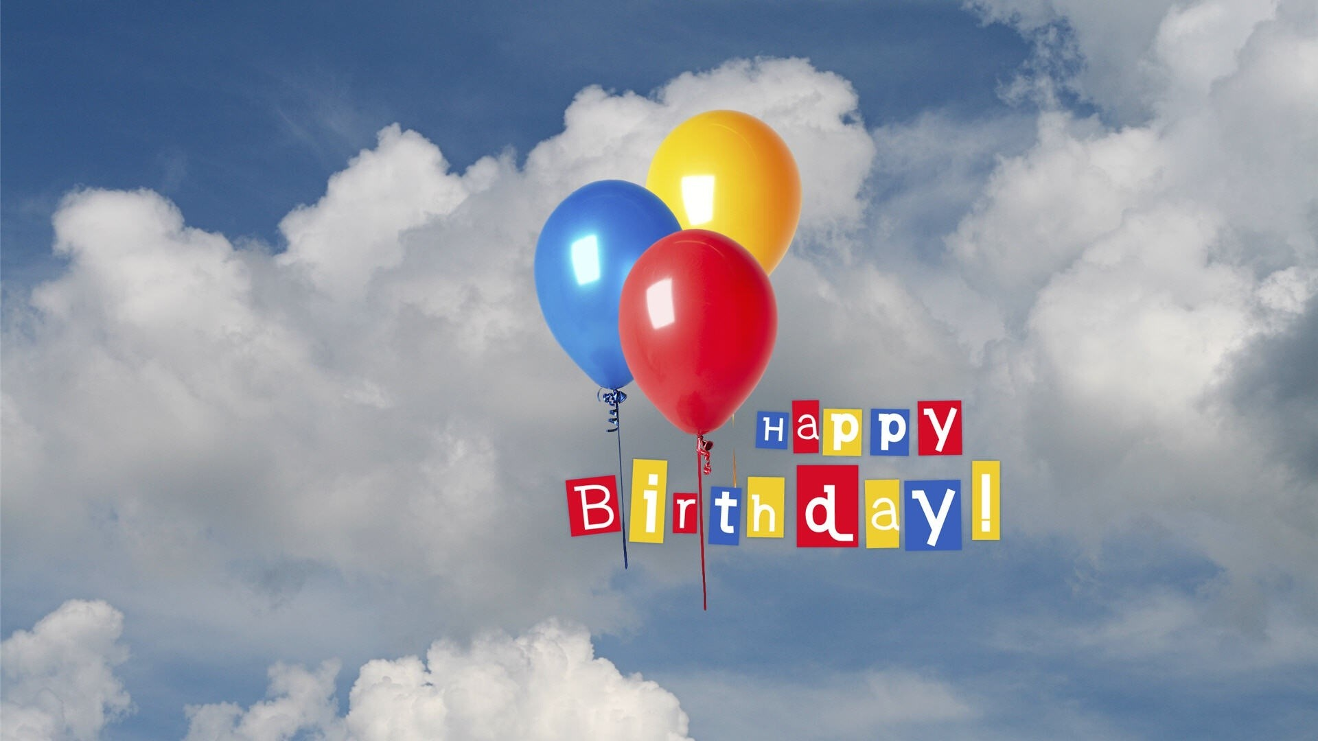 Happy birthday greetings in sky with balloon wallpapers - Happy birthday card wallpaper ...
