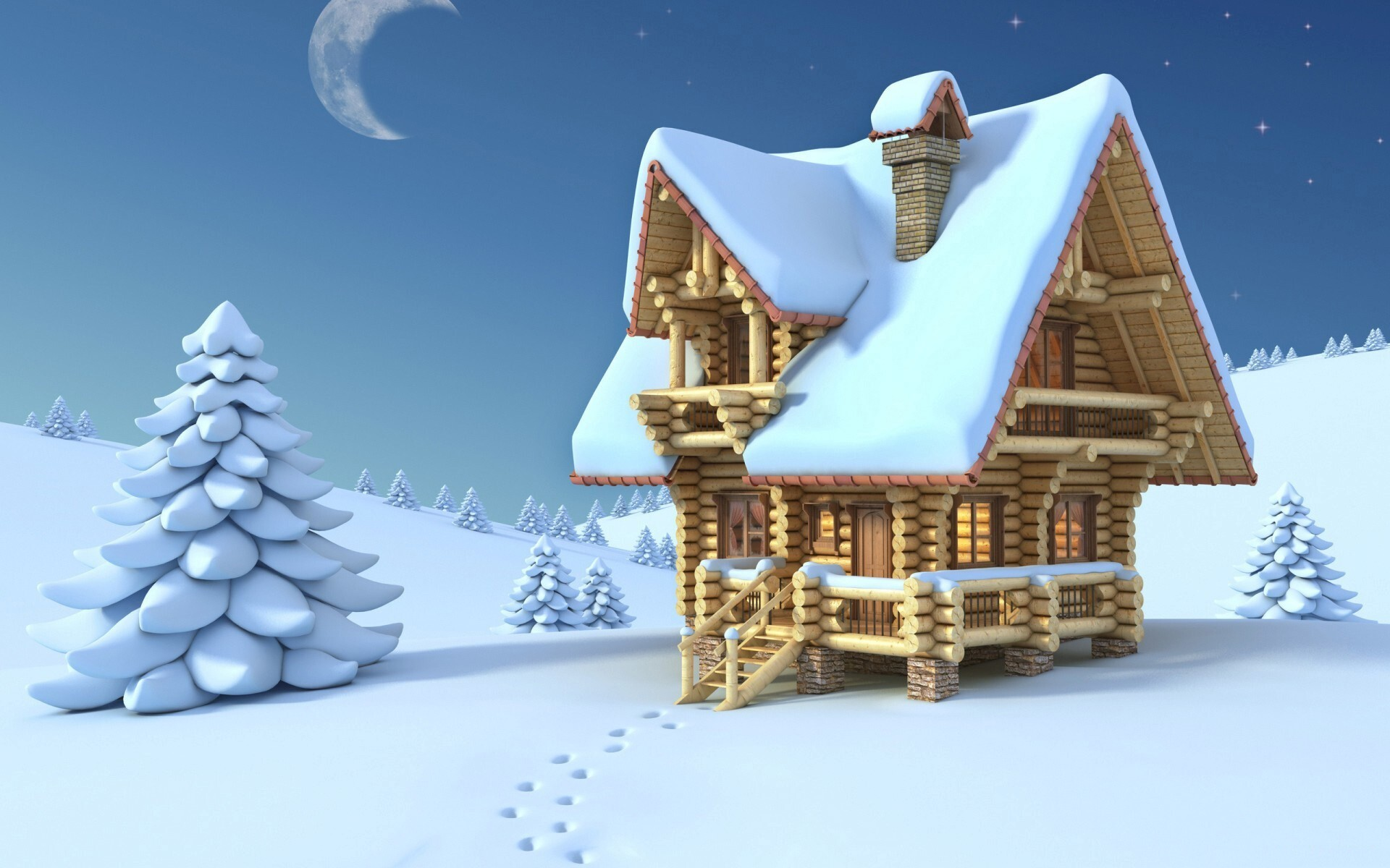 Wonderful Wallpaper Minecraft Christmas - Beautiful_Snowy_House_in_Christmas_Night_Wallpaper  You Should Have_827153.jpg