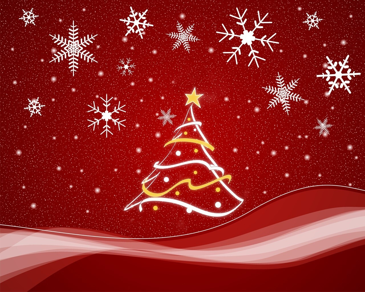 Christmas Tree In Red Background