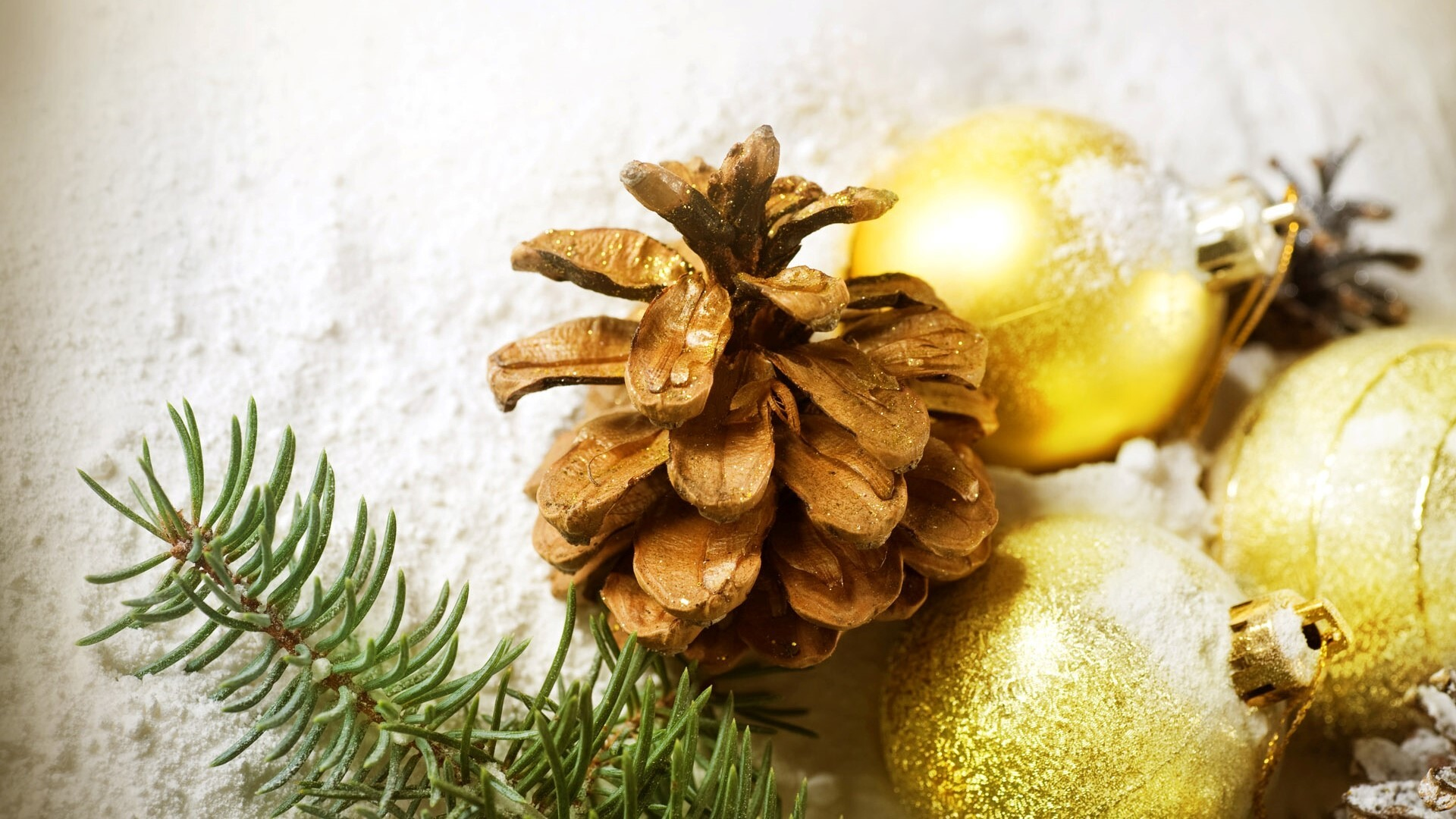Golden Snowy Ball On Christmas Holiday Images